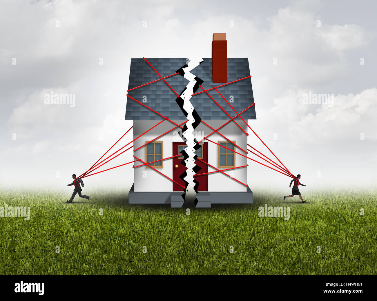Broken family after a bitter divorce settlement and separation with a couple in a bad relationship breaking a house - Stock Image