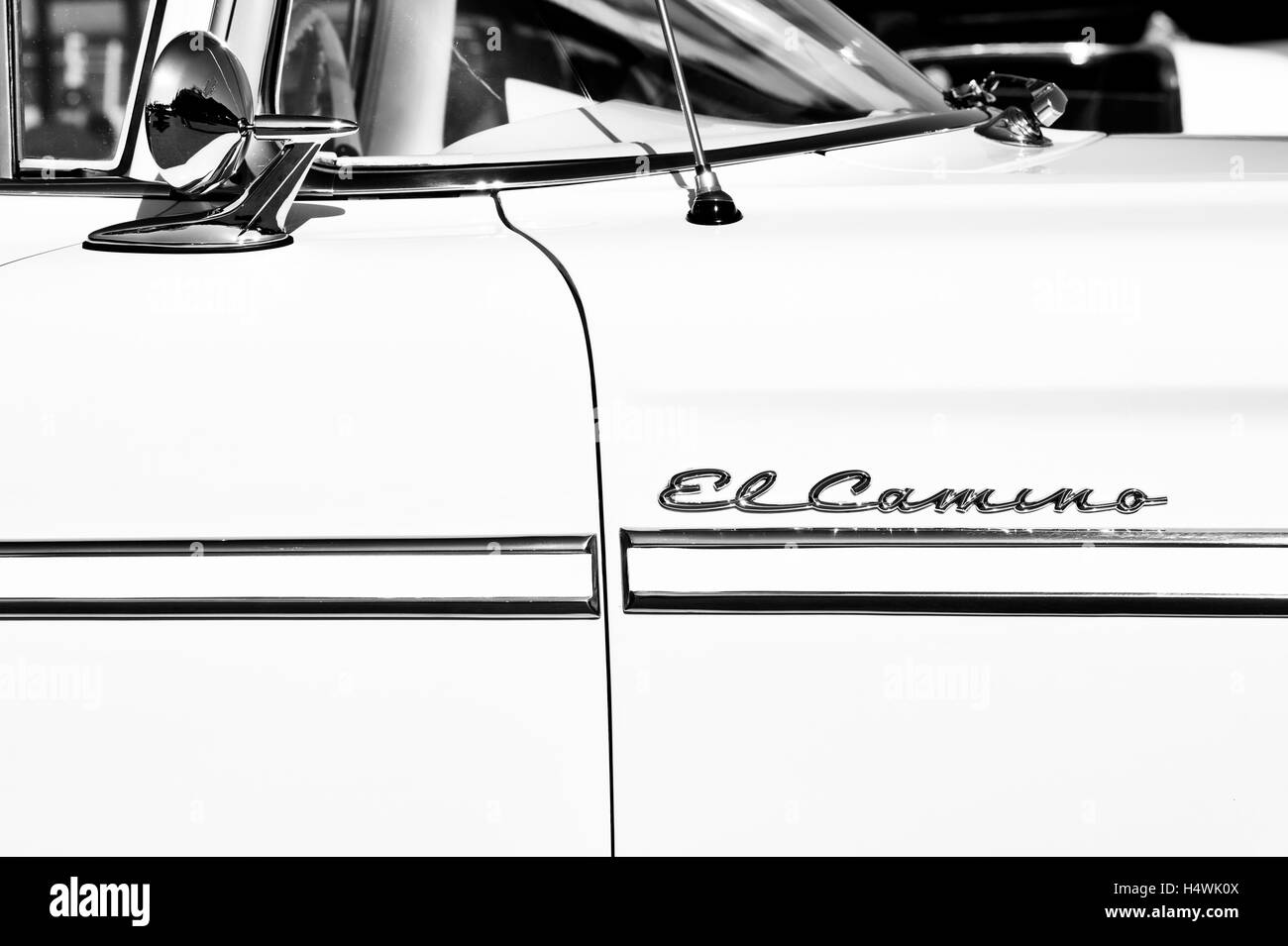1959 Chevrolet El Camino. Chevy. Classic American car. Black and White. Abstract - Stock Image