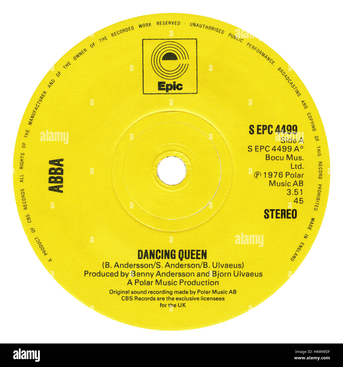 45 RPM 7' UK record label of Dancing Queen by ABBA on the Epic label from 1976 - Stock Image