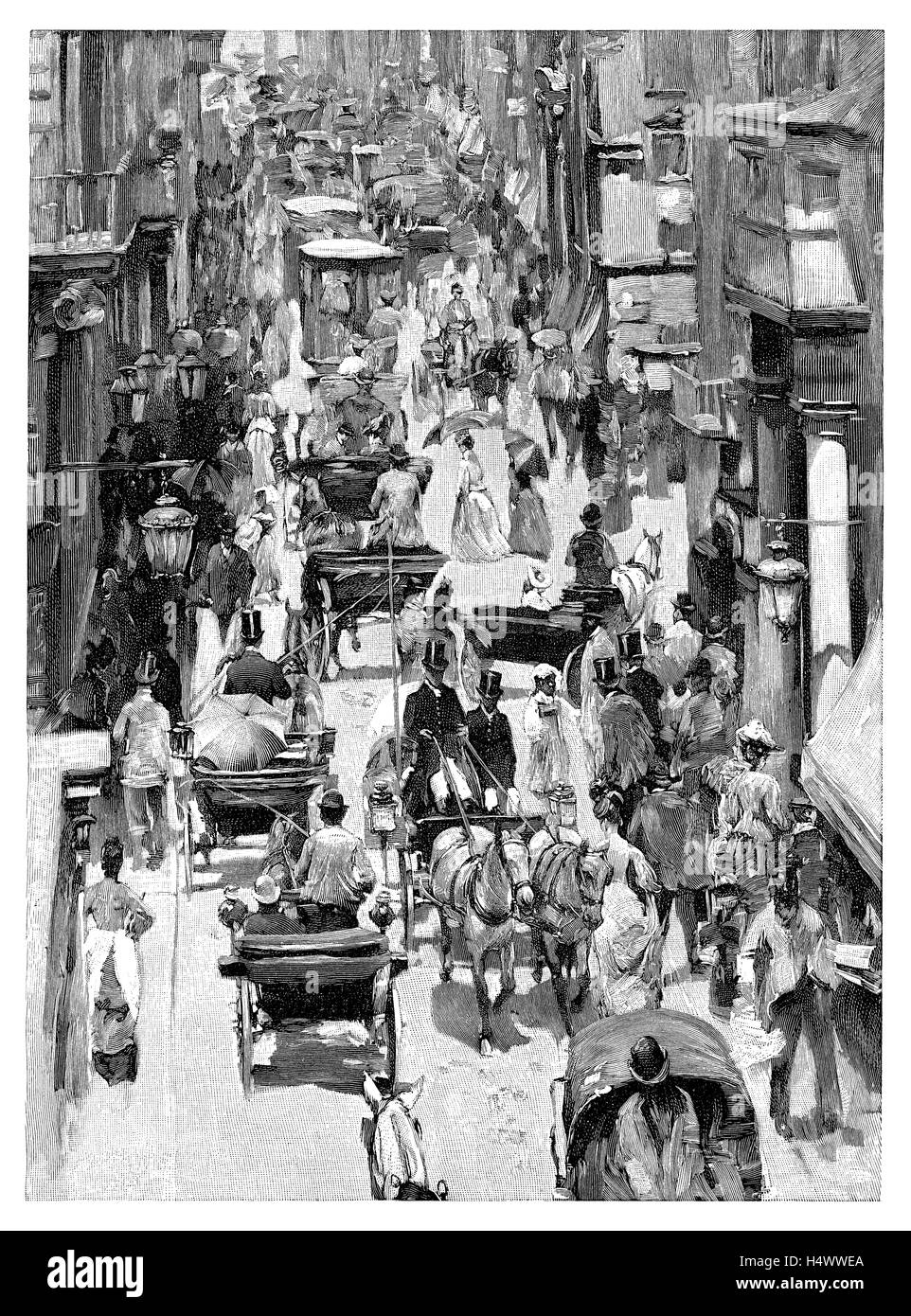 1891 black and white engraving of the Via Del Corso in Rome, Italy - Stock Image
