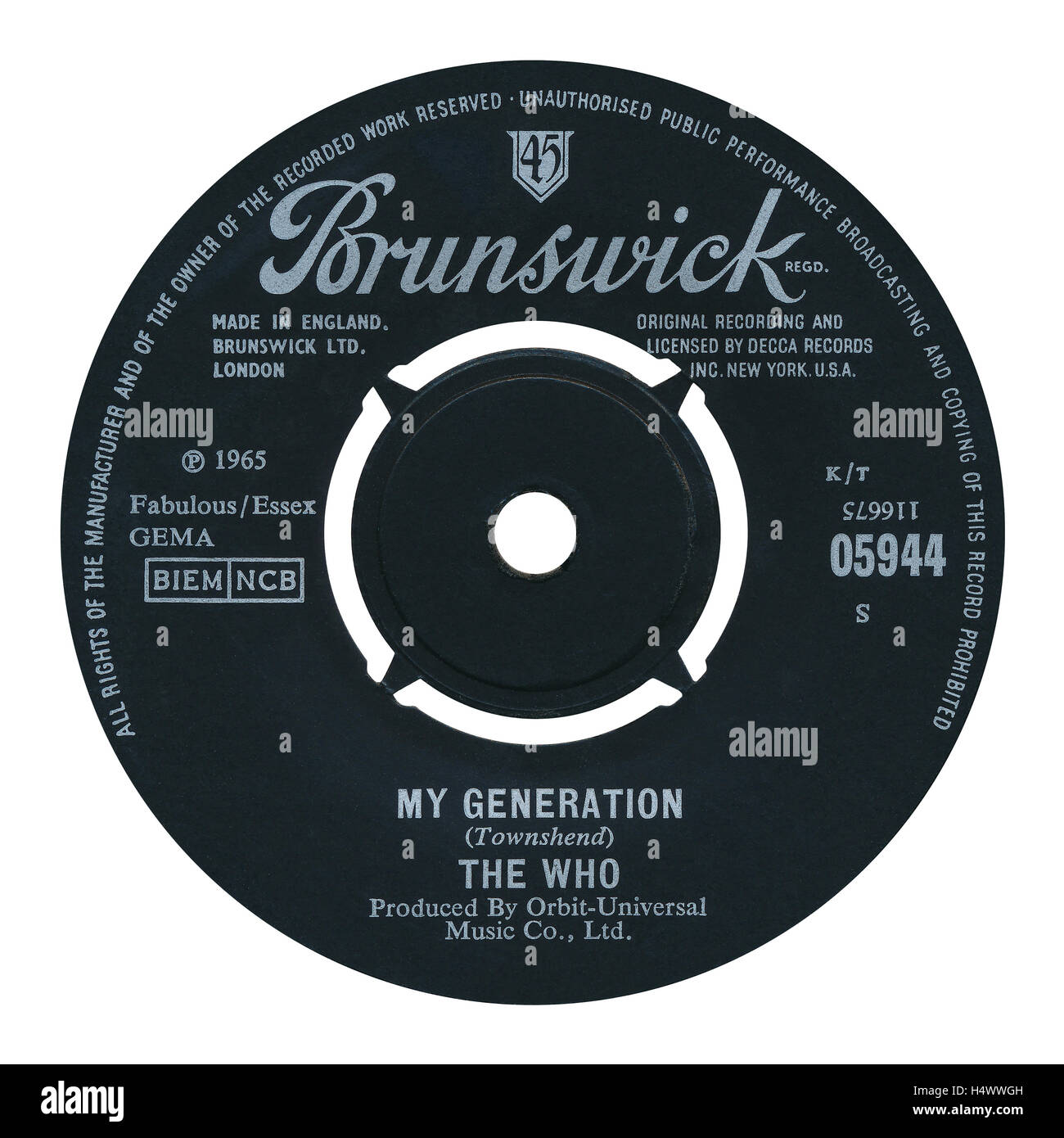45 RPM 7' UK record label of My Generation by The Who on the Brunswick label from 1965 - Stock Image