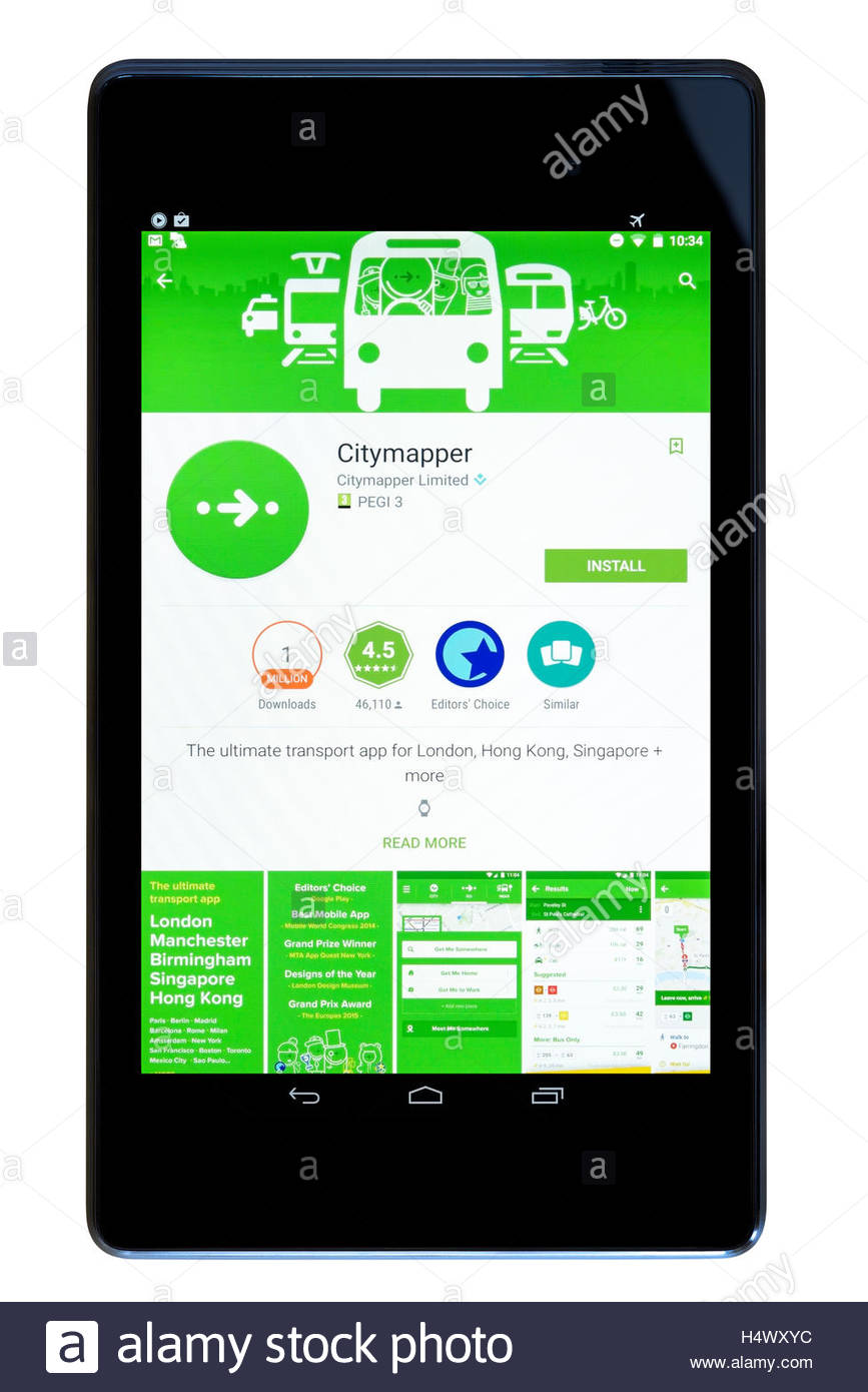 Journey planner Citymapper app on an android tablet PC