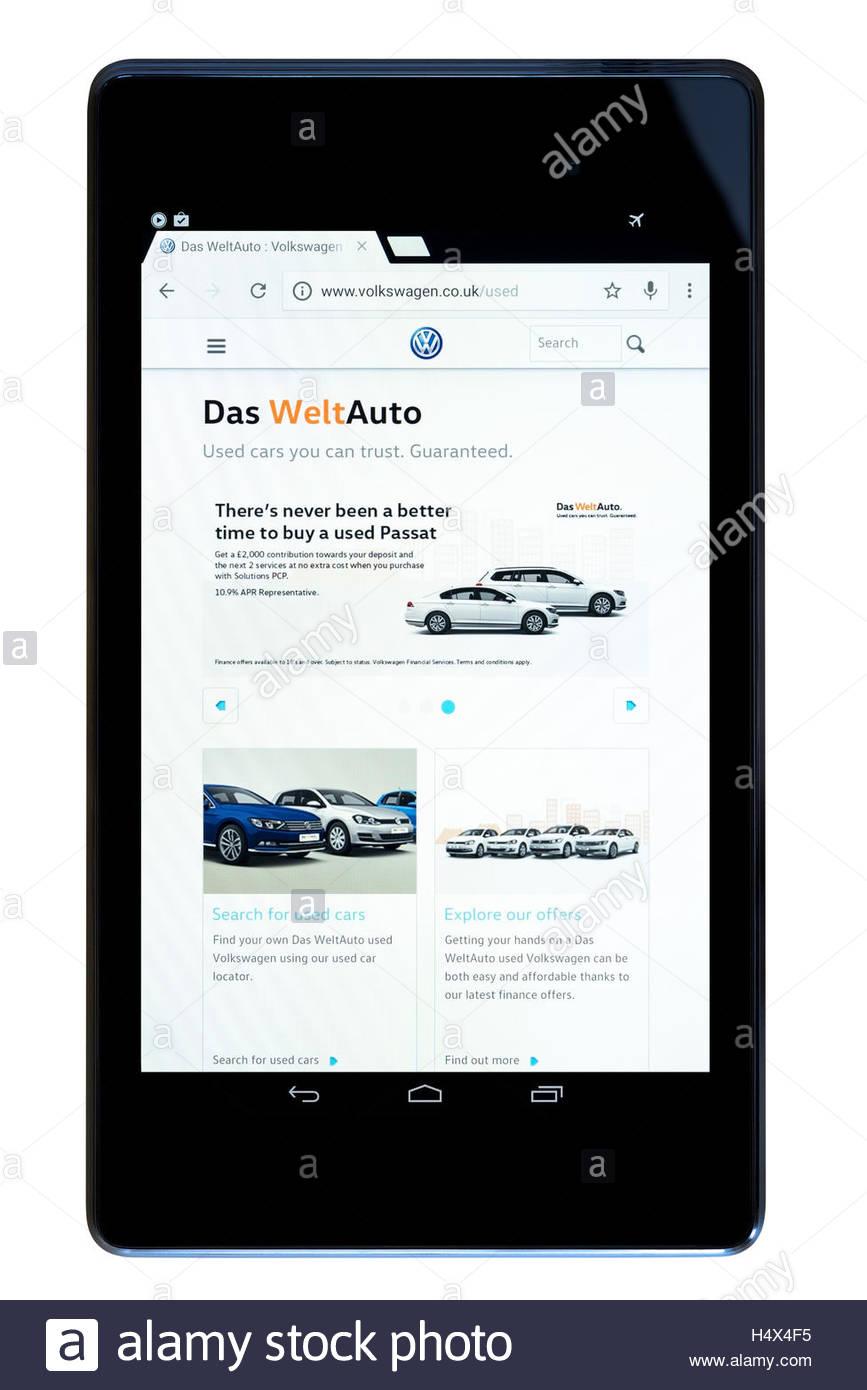 Das WeltAuto websiteshown on a tablet computer, Dorset, England, UK - Stock Image