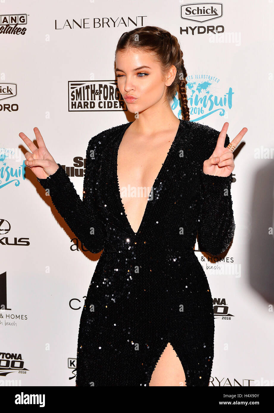 53db1e2de4 Model Barbara Palvin attends the red carpet for Sports Illustrated Swimsuit  2016 Launch Events at 1 Hotel & Homes South Beach on February 17, 2016 in  Miami ...