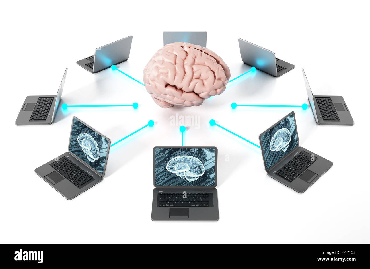 Brain connected to the laptop computers. 3D illustration. - Stock Image