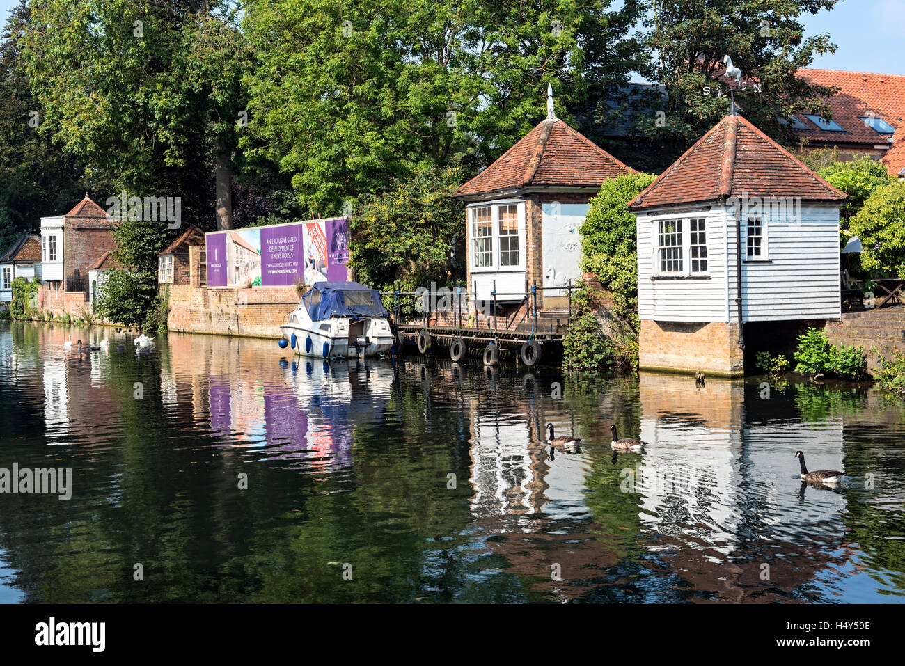 Gazebos overlooking River Lee, Ware, Hertfordshire - Stock Image