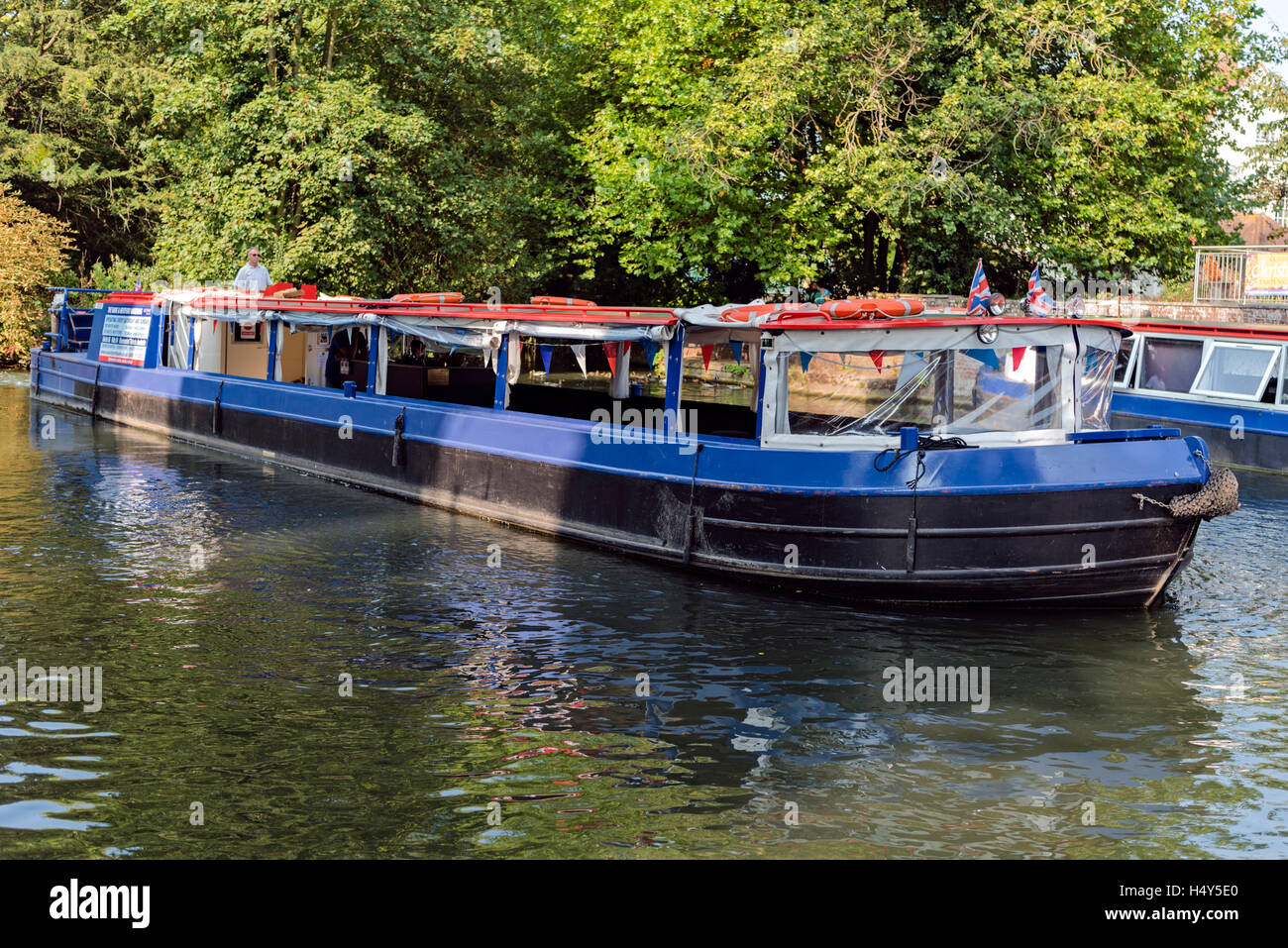 A longboat on the River Lee, Ware, Hertfordshire - Stock Image