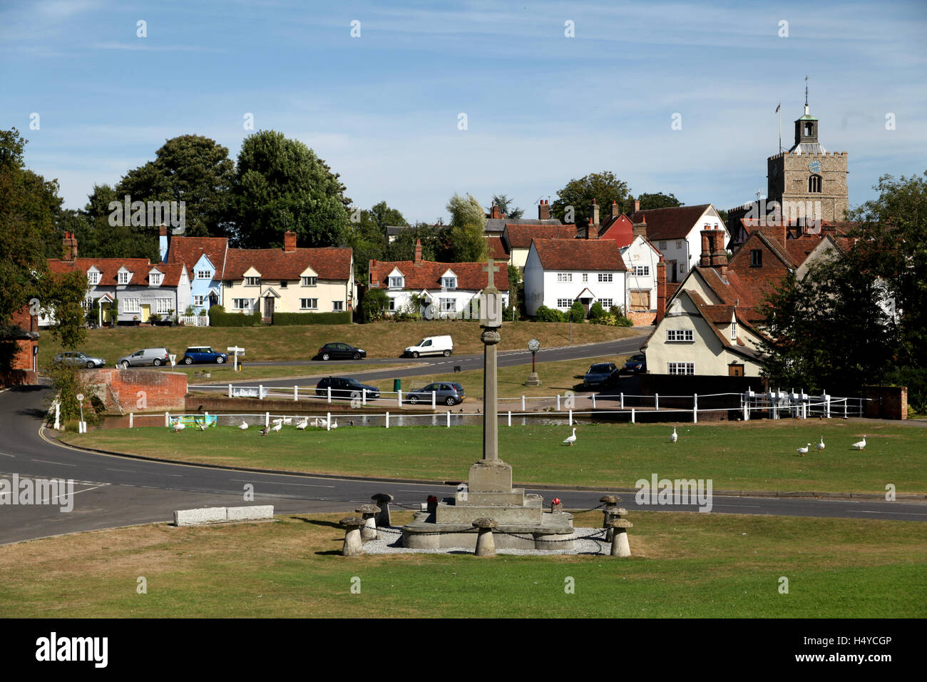 The village of Finchingfield is said by some to be the prettiest in Essex and most photographed in England - Stock Image
