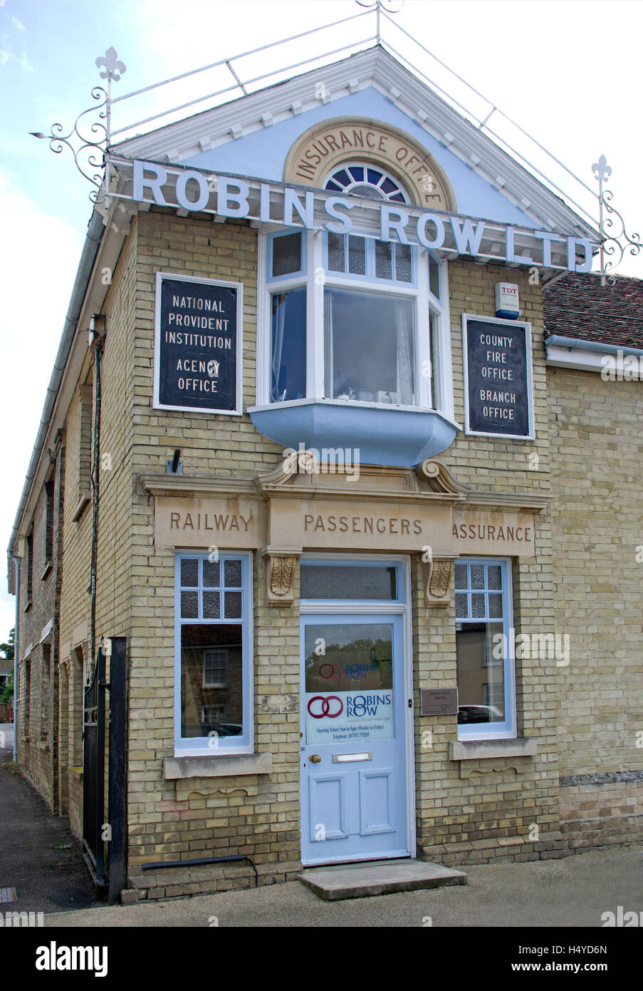 Office building of Robins Row Insurance in Hall Street Long Melford Suffolk dates from 1867 - Stock Image