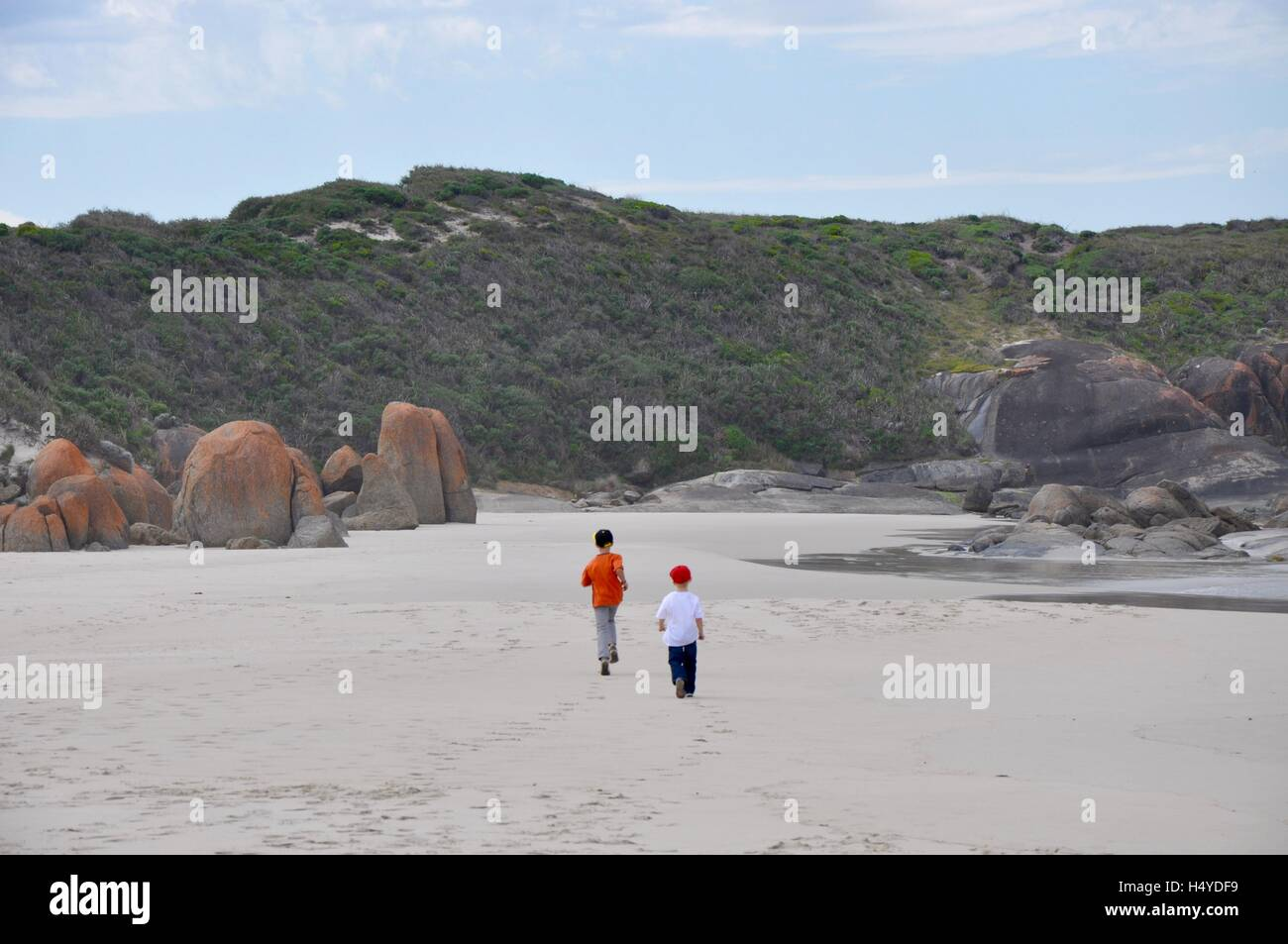 Denmark,WA,Australia-October 2,2014:Tourists exploring the Great Southern Ocean coast line on a stormy day in Walpole, - Stock Image