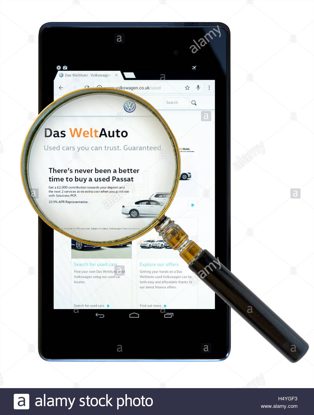 Das WeltAuto websiteshown on a tablet computer, Dorset, England, UK Stock Photo