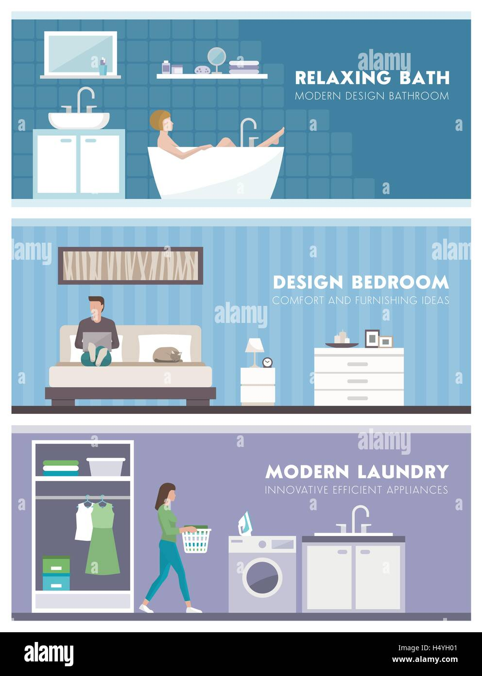 Domestic lifestyle and room interiors banners set with people: bathroom, bedroom and laundry room - Stock Image