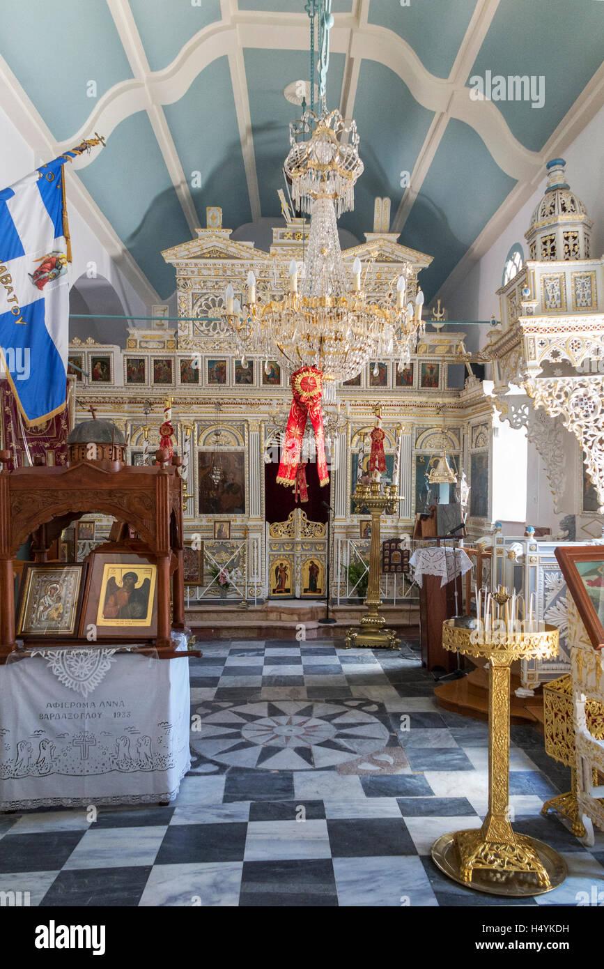 Interior of  Archangel church at abandoned Anavatos village Chios Island Greece - Stock Image