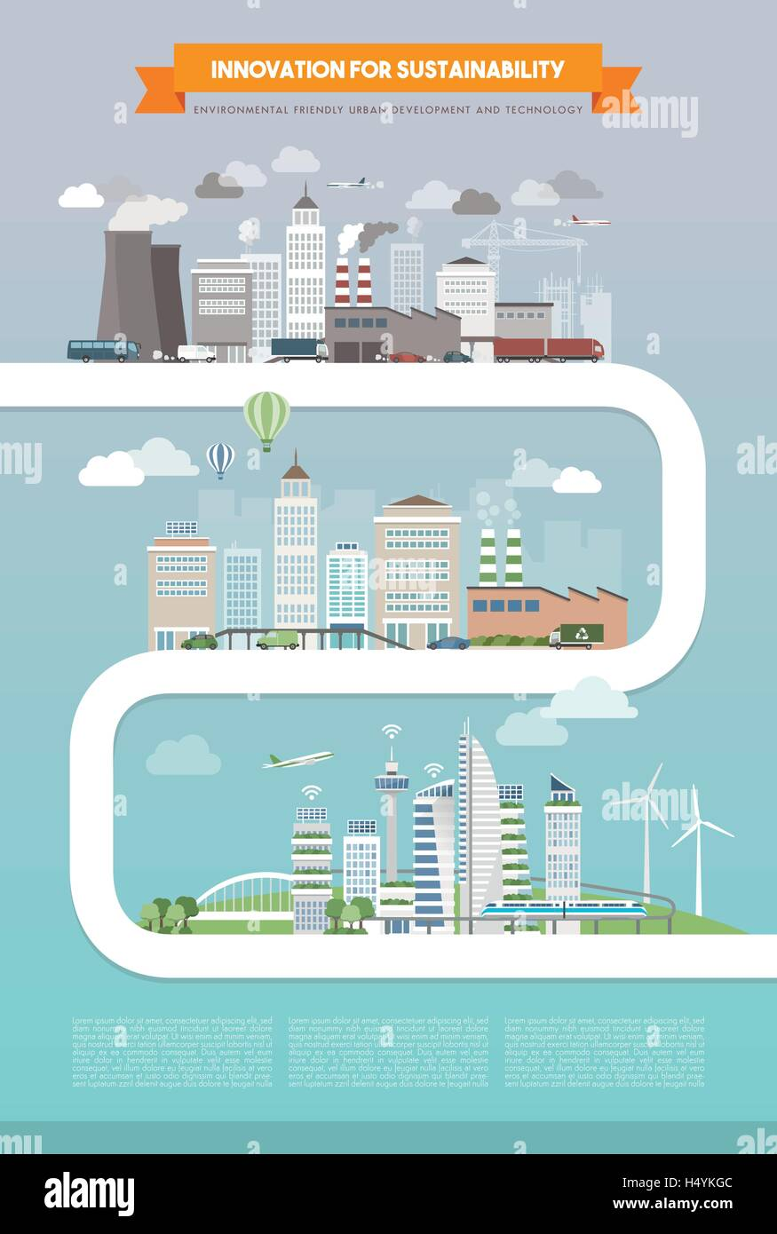 Innovation and sustainability for urban development, technology and power generation concept, city evolution path - Stock Image