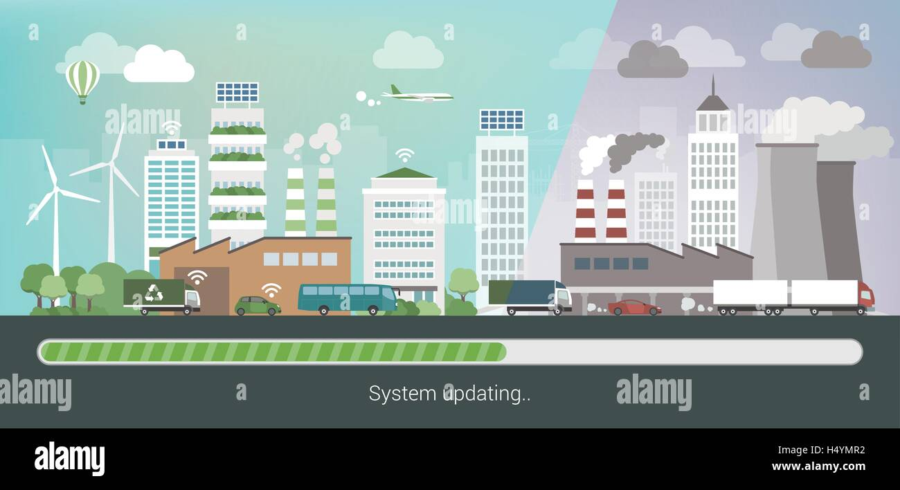Polluted city changing and upgrading into an innovative clean eco city, environmental care and sustainability convept - Stock Image