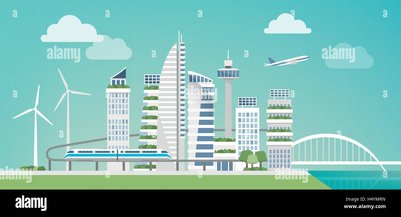 Futuristic green city with wind turbines, skyscrapers and monorail, sustainability and innovation concept - Stock Vector