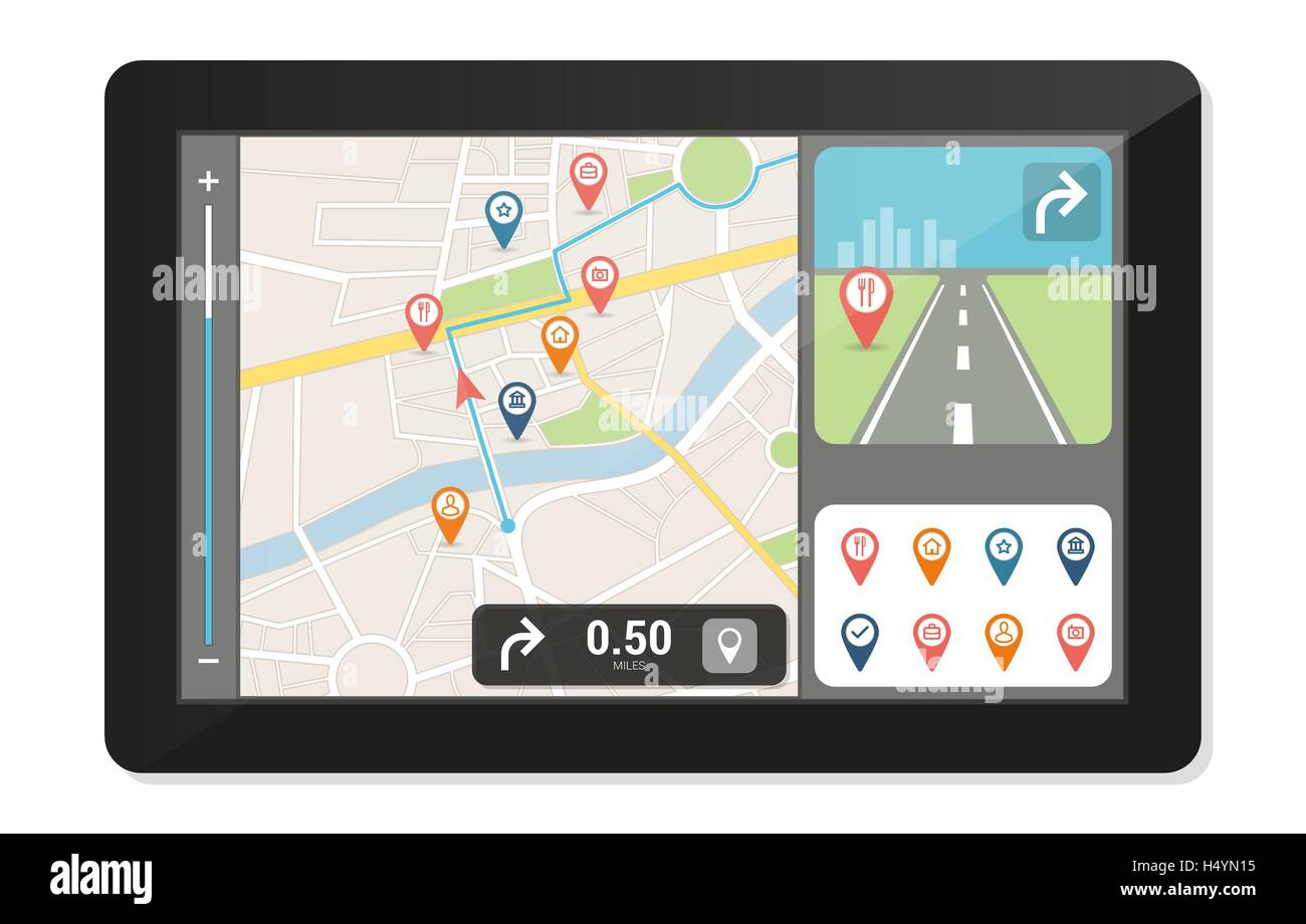 Gps navigation device and city map with pins and icons, technology and travelling concept - Stock Image