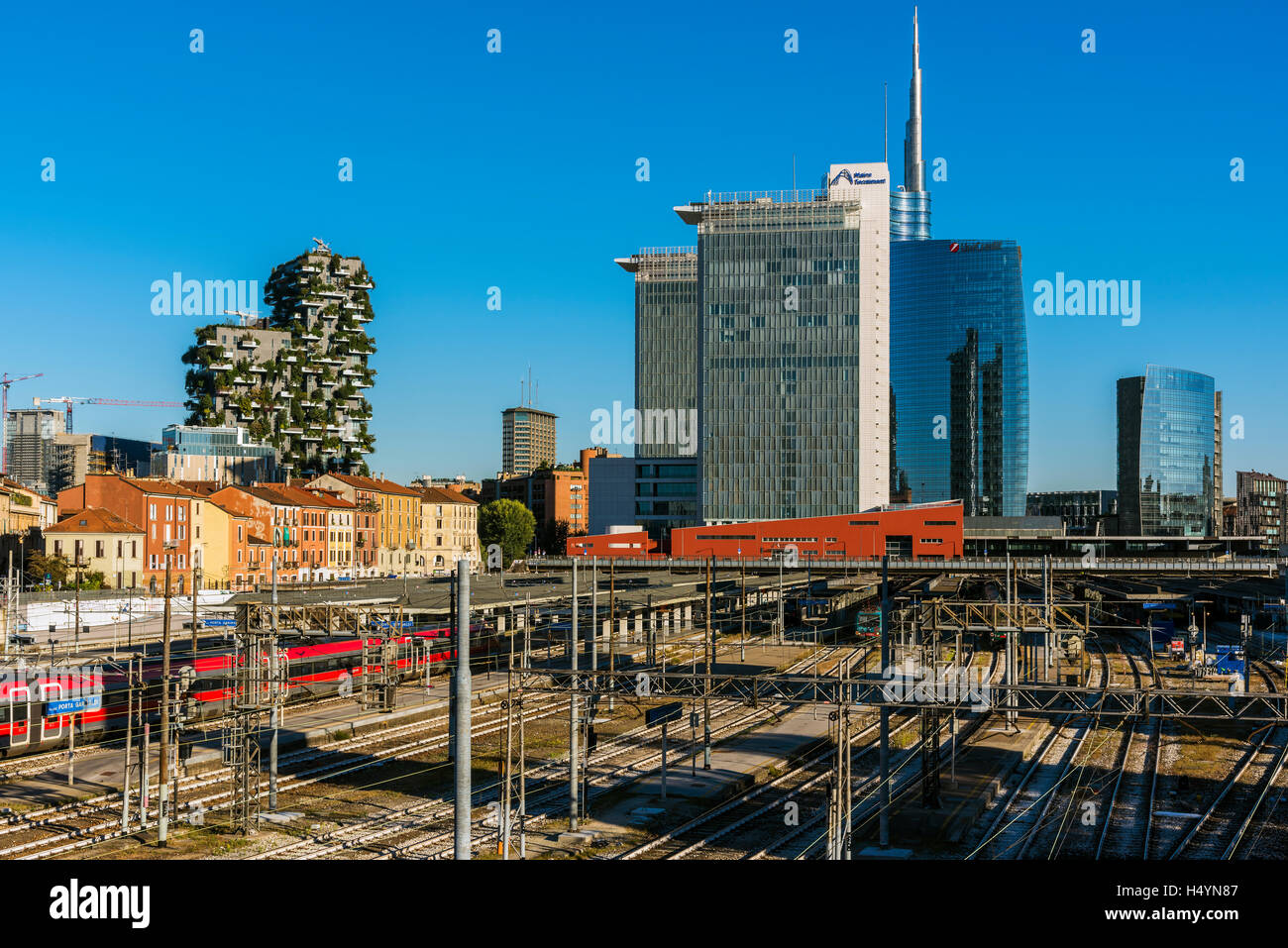 Garibaldi railway station and skyscrapers skyline, Milan, Lombardy, Italy - Stock Image