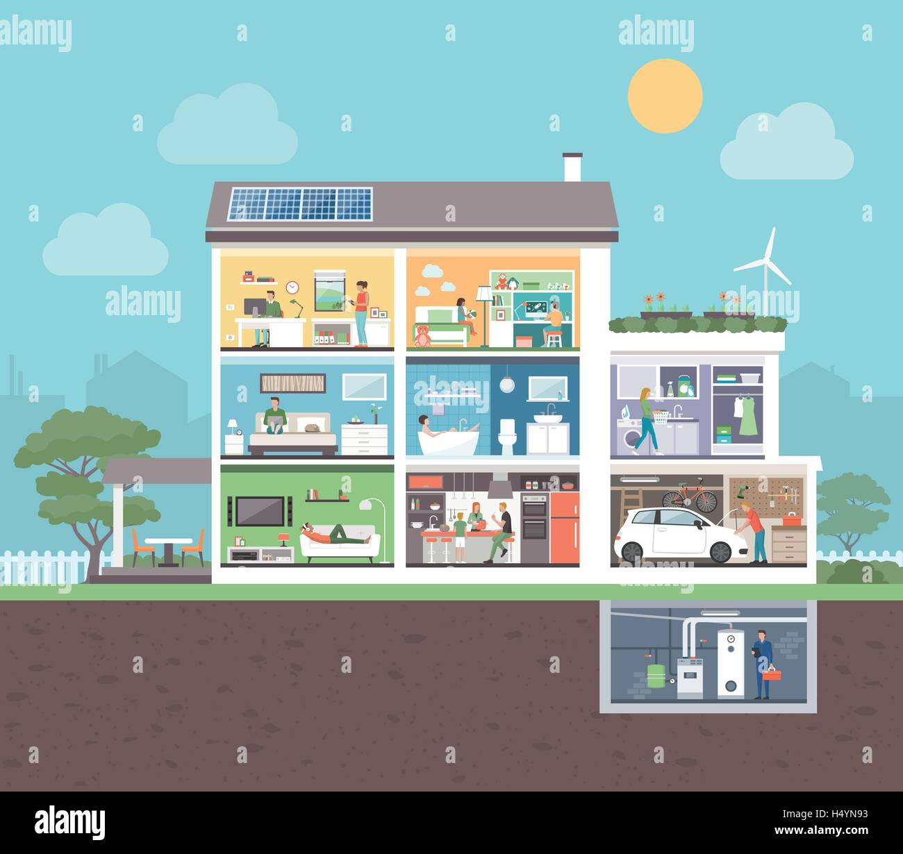 House cross section with room interiors and people, domestic lifestyle concept - Stock Vector