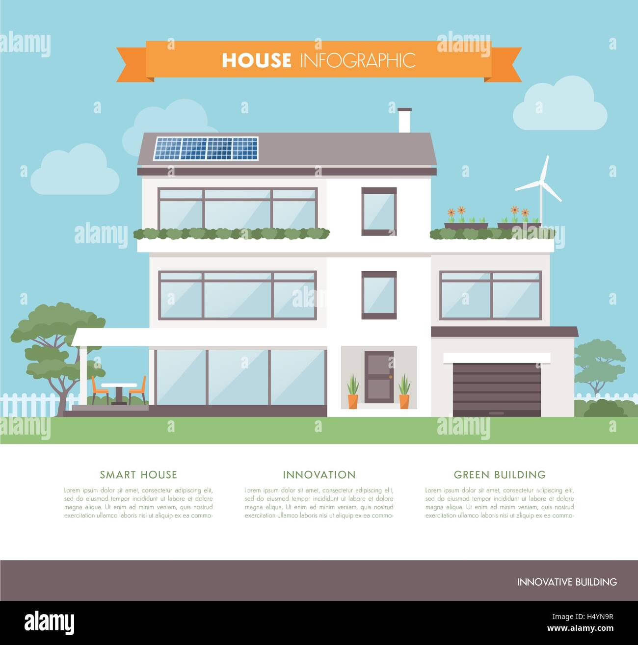 Contemporary eco house, with solar panels, wind generator and garden, architecture and sustainability concept - Stock Vector
