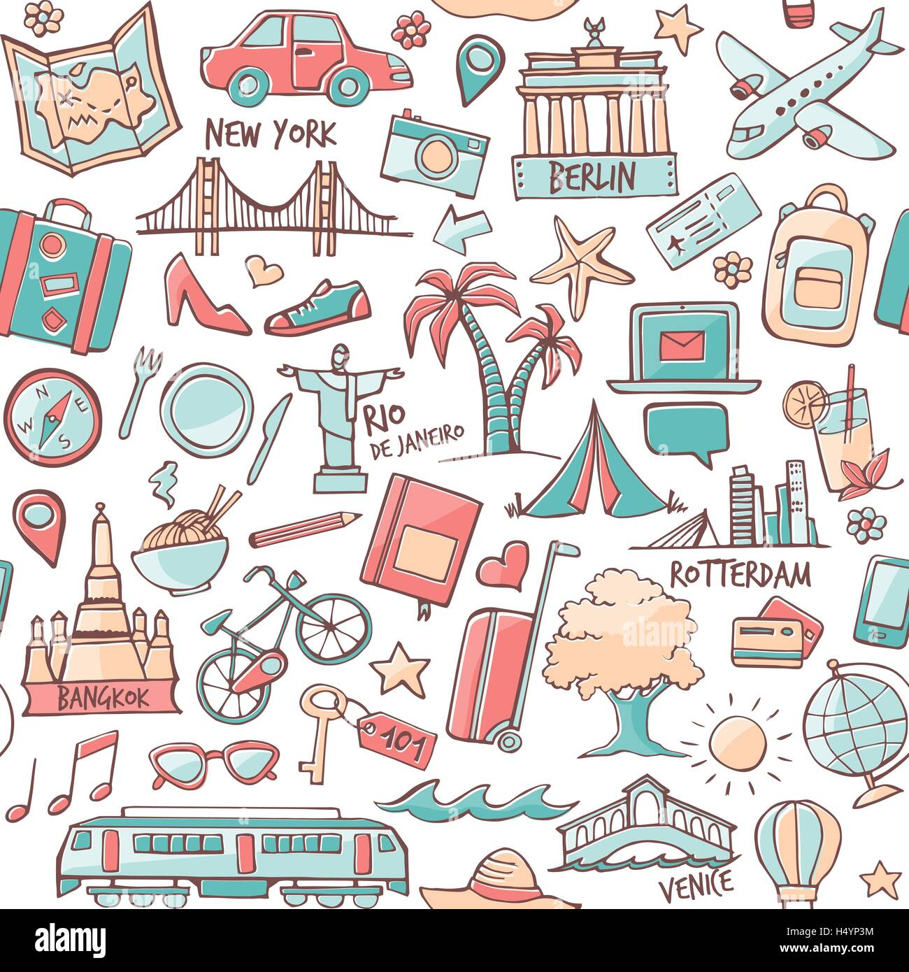 Tourism and travel seamless hand drawn pattern with travel destinations - Stock Vector