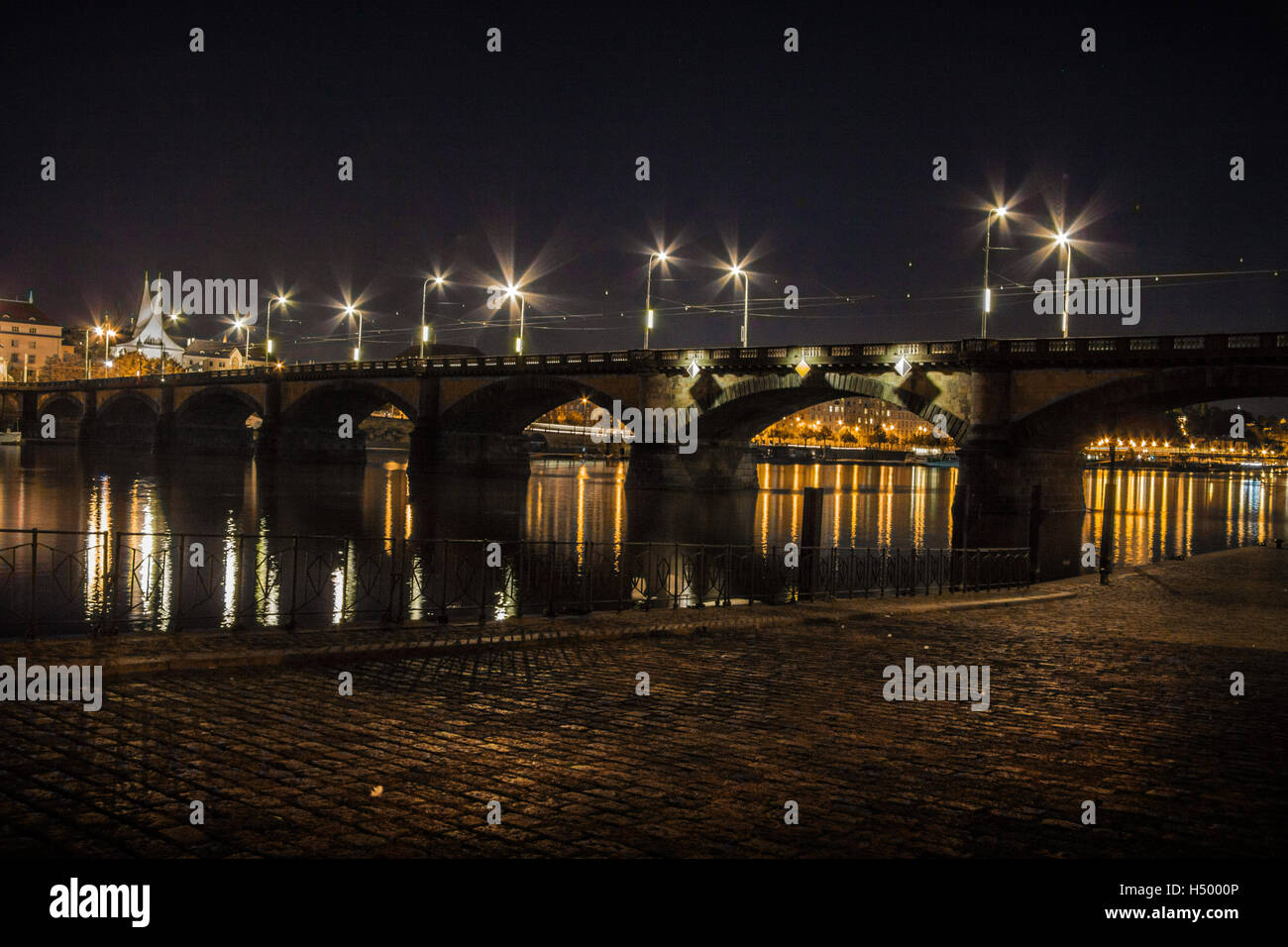 Emmaus Monastry and Palackeho Bridge, Prague at night - Stock Image