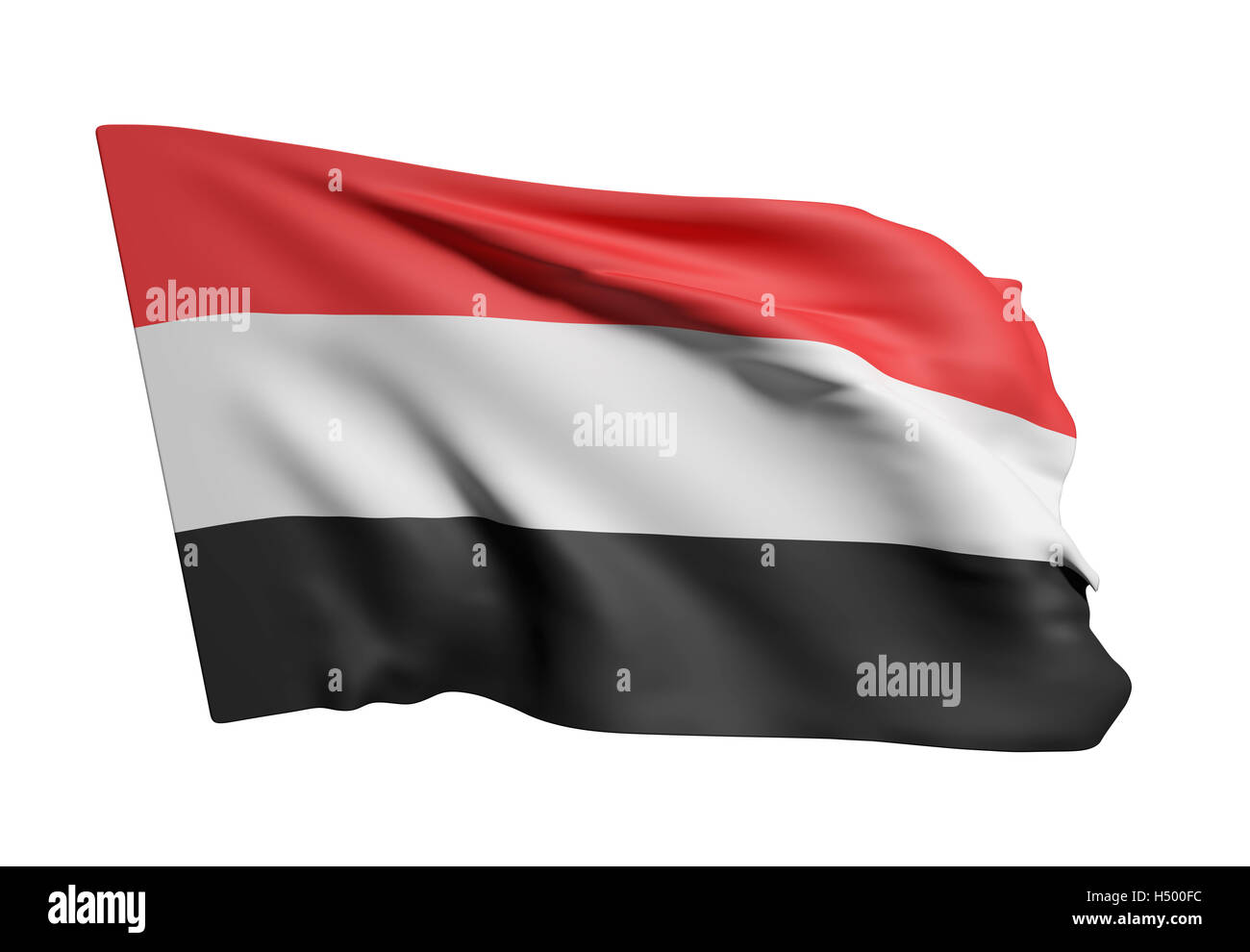 3d rendering of Republic of Yemen flag waving on white background Stock Photo