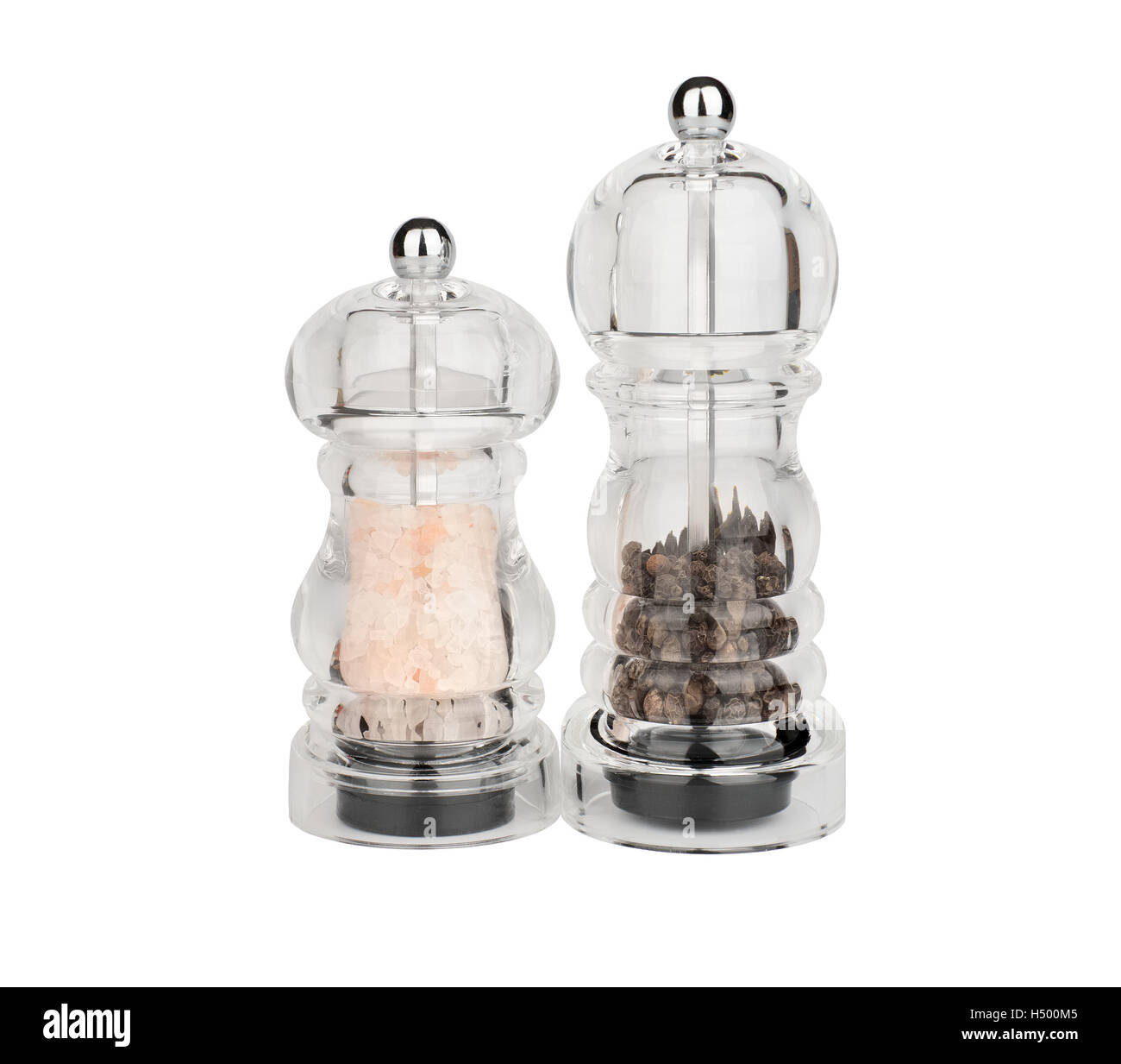mills for salt and pepper of plastic on a white background - Stock Image