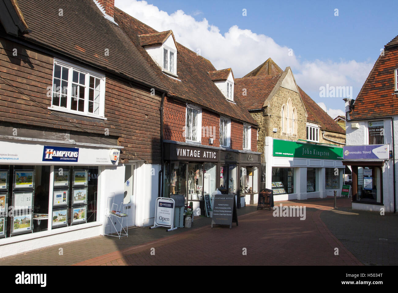 Empty street in the market town of Sevenoaks in Kent, England, UK Stock Photo