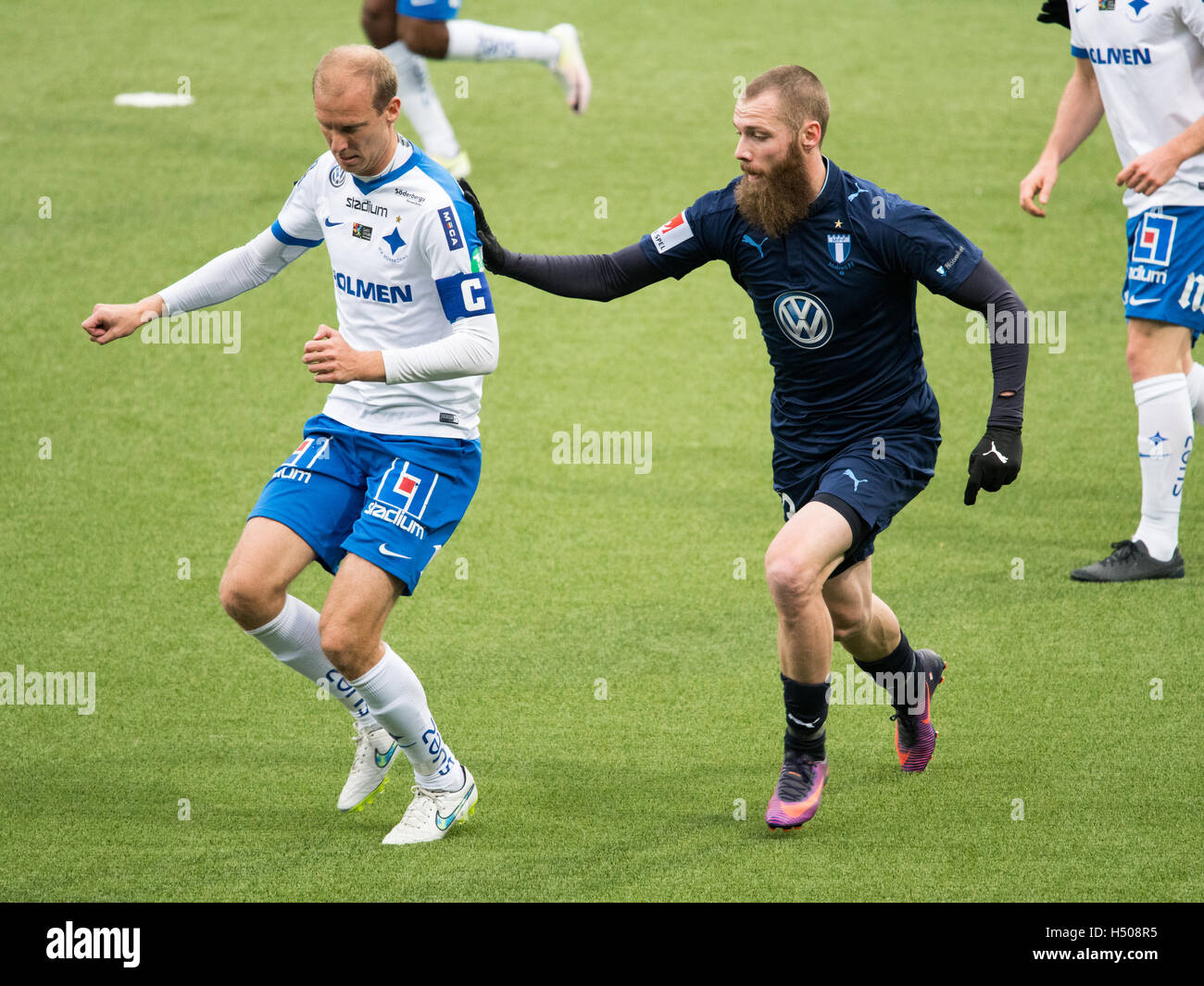 The tow top teams in the Swedish football league Allsvenskan IFK Norrköping and Malmö FF meet at Östgötaporten - Stock Image