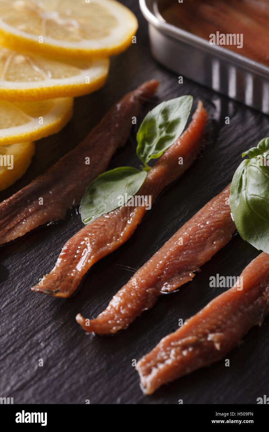 Anchovy fillets, basil and lemon macro on a slate board. vertical - Stock Image