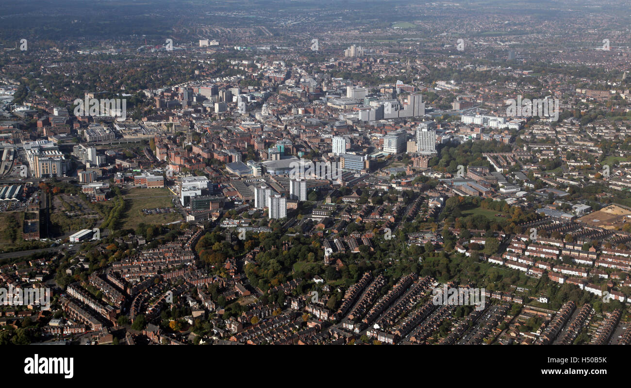 aerial view of the Nottingham city centre skyline, UK - Stock Image