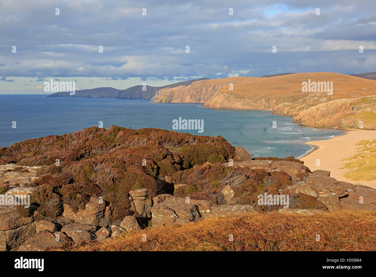 Sandwood Bay in the autumn from Druim na Buiainn Sutherland Scotland - Stock Image
