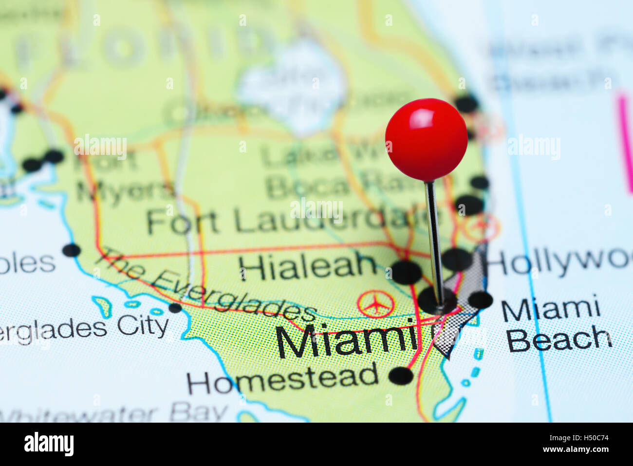 Miami Pinned On A Map Of Florida Usa Stock Photo 123555464 Alamy