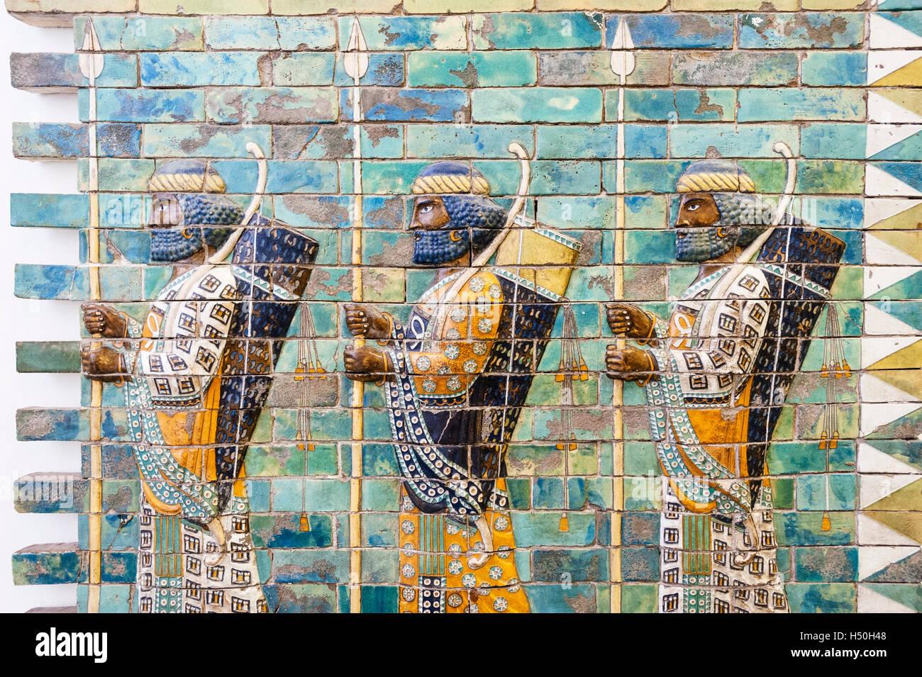 Museum Island,  Pergamon Museum Ancient Assyrian ceramic frieze in Germany, Berlin, UNESCO World Heritage Site - Stock Image