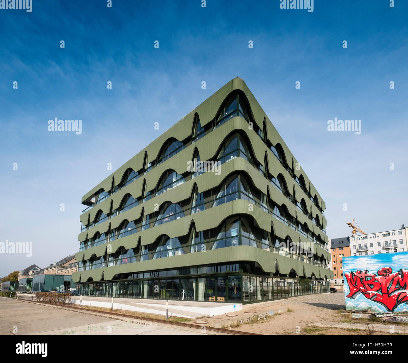 Fashioncenter Labels 2 building on Osthafen , East Harbour along River Spree in Berlin , Germany - Stock Image
