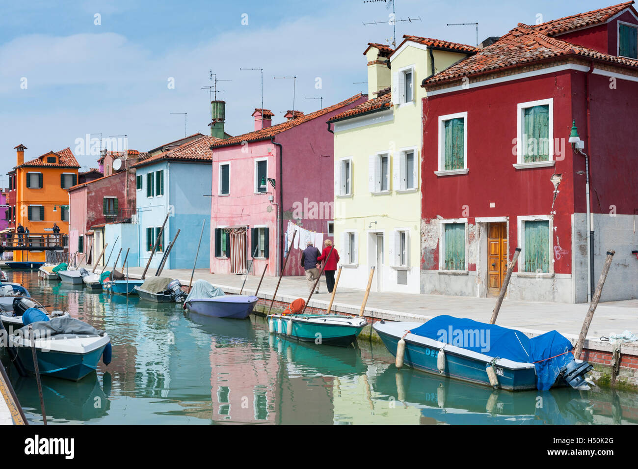Colourful houses in Burano , Venice, Italy - Stock Image