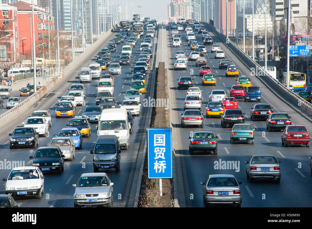 Heavy traffic on urban motorway in central Beijing , China - Stock Image