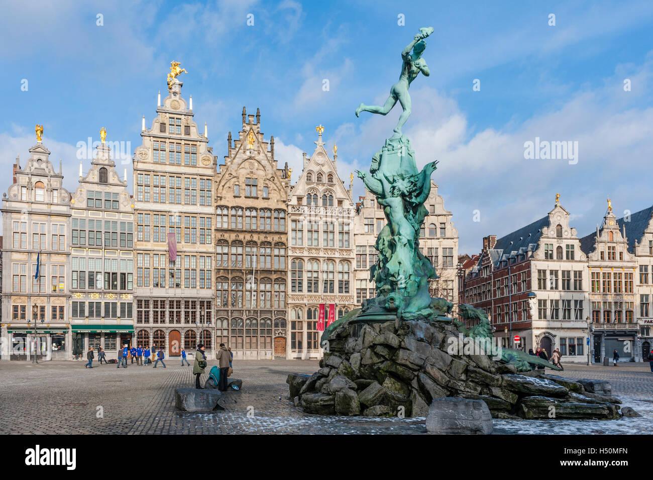 Antwerp; Brabo Fountain and historic buildings in Grote Markt square in Antwerp Belgium Stock Photo