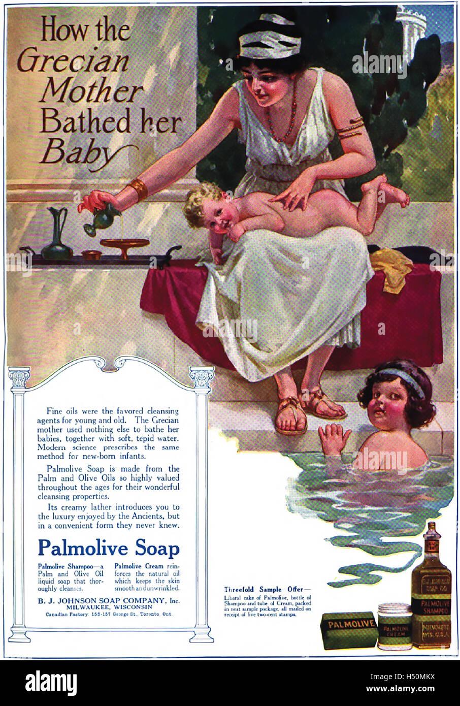 PALMOLIVE SOAP advert 1915 - Stock Image