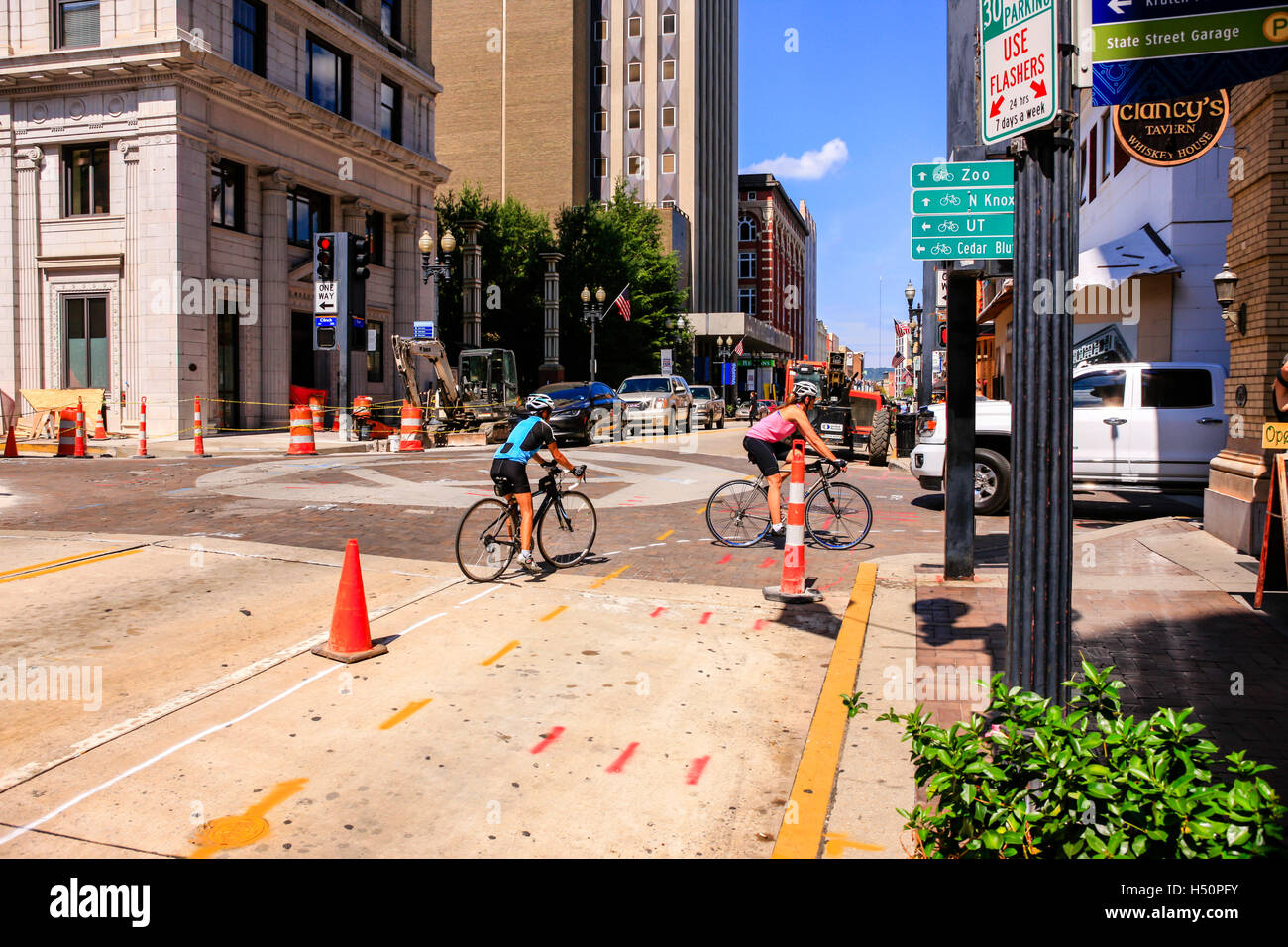 South Gay Street, the Theater district of Knoxville, TN - Stock Image