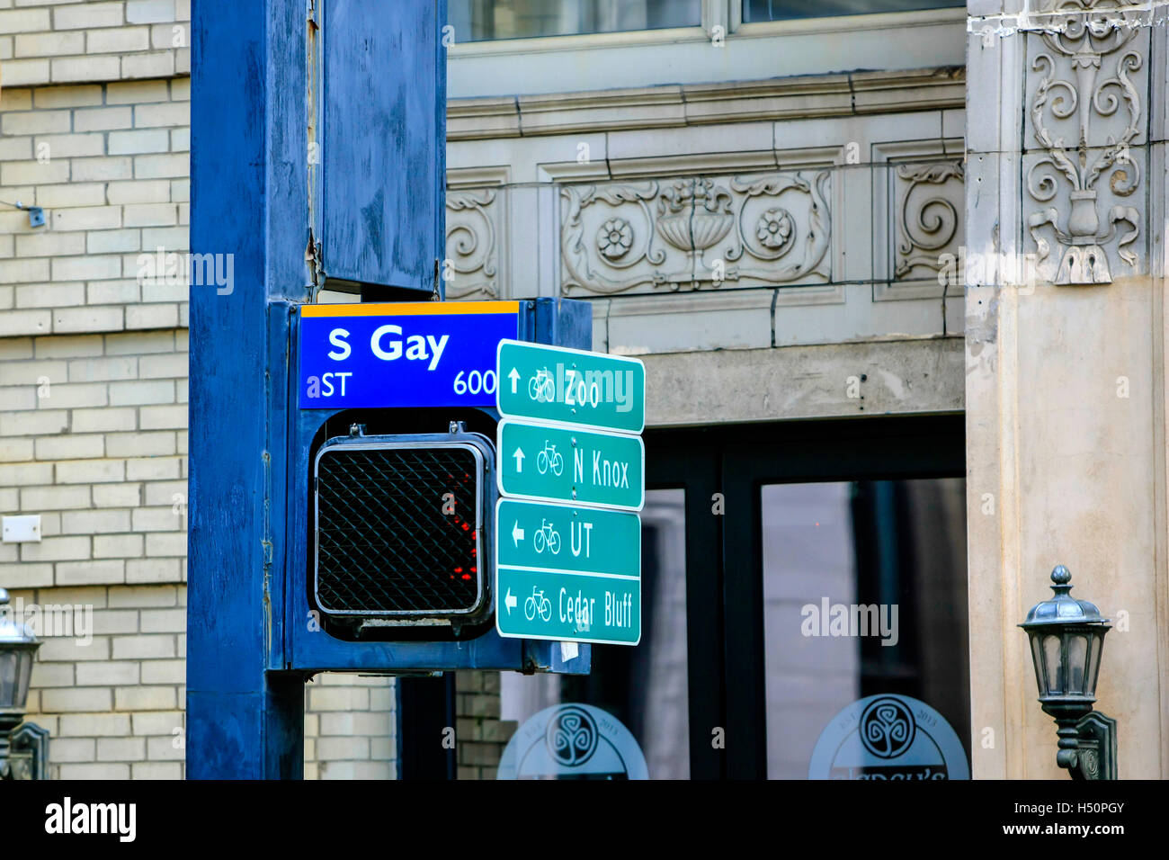 South Gay Street sign and multiple tourist attraction signs in KNoxville, TN - Stock Image