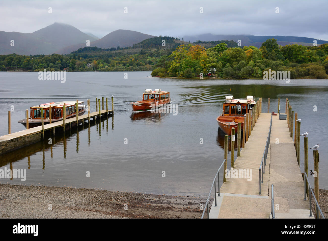Keswick launches landing at the jetties on Derwentwater, UK - Stock Image
