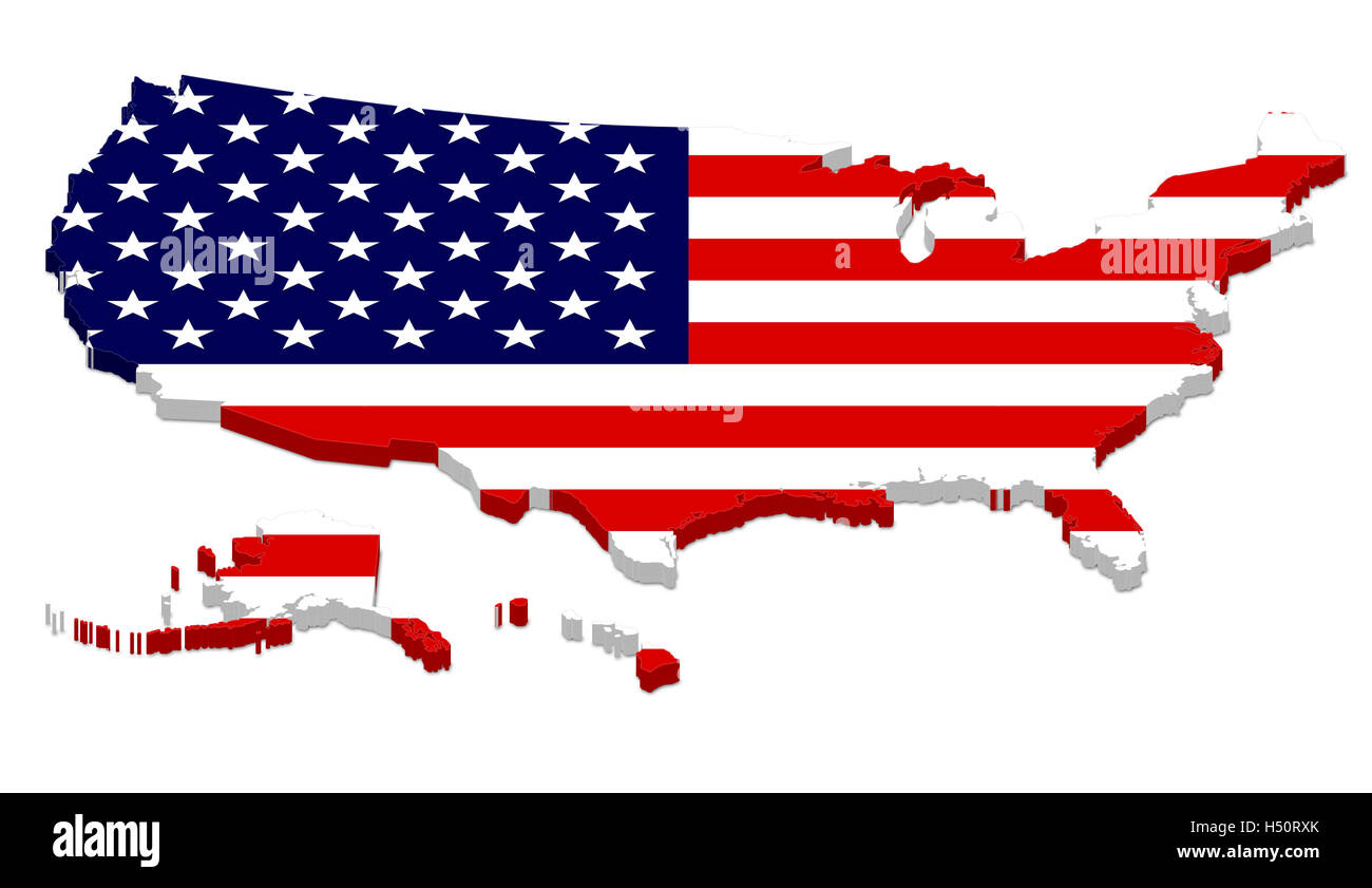 3D Rendering Of USA Map With Flag Overlay Including Alaska And Hawaii Isolated On