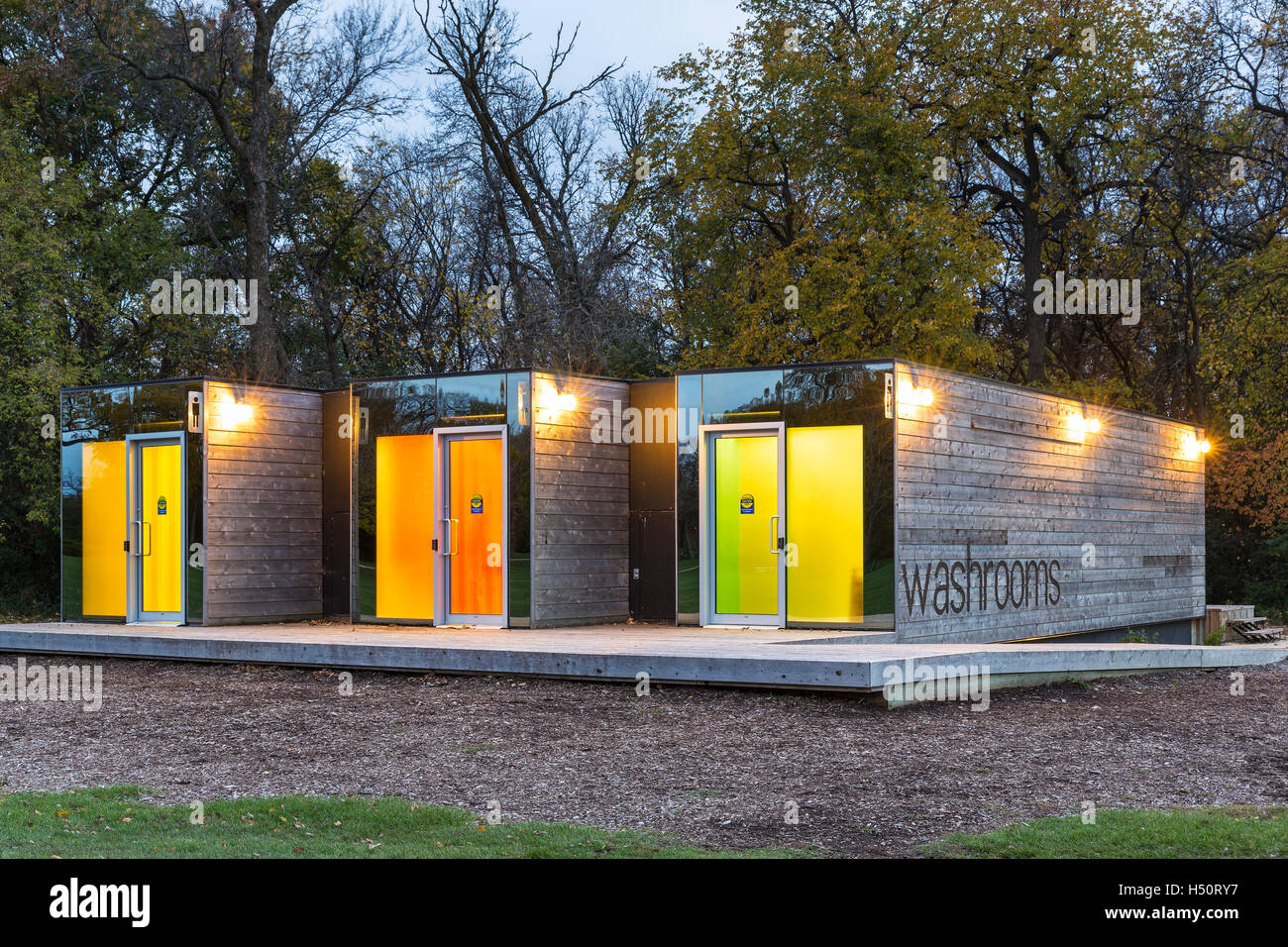 Shipping containers converted into washrooms, Assiniboine Park, Winnipeg, Manitoba, Canada. Stock Photo