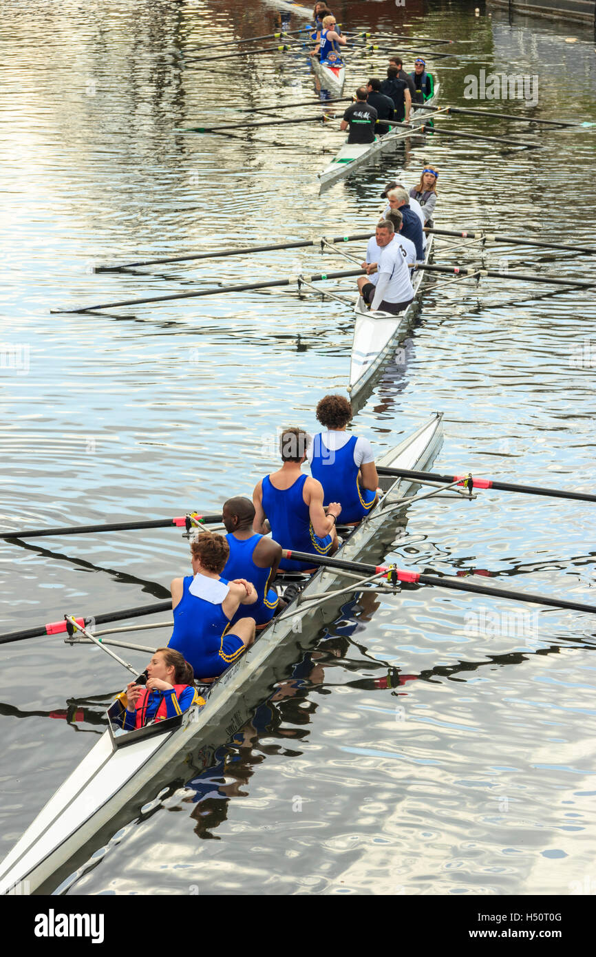 Four coxed fours on the River Lea at Springfield Marina during a rowing competition at Lea Rowing Club, London, - Stock Image