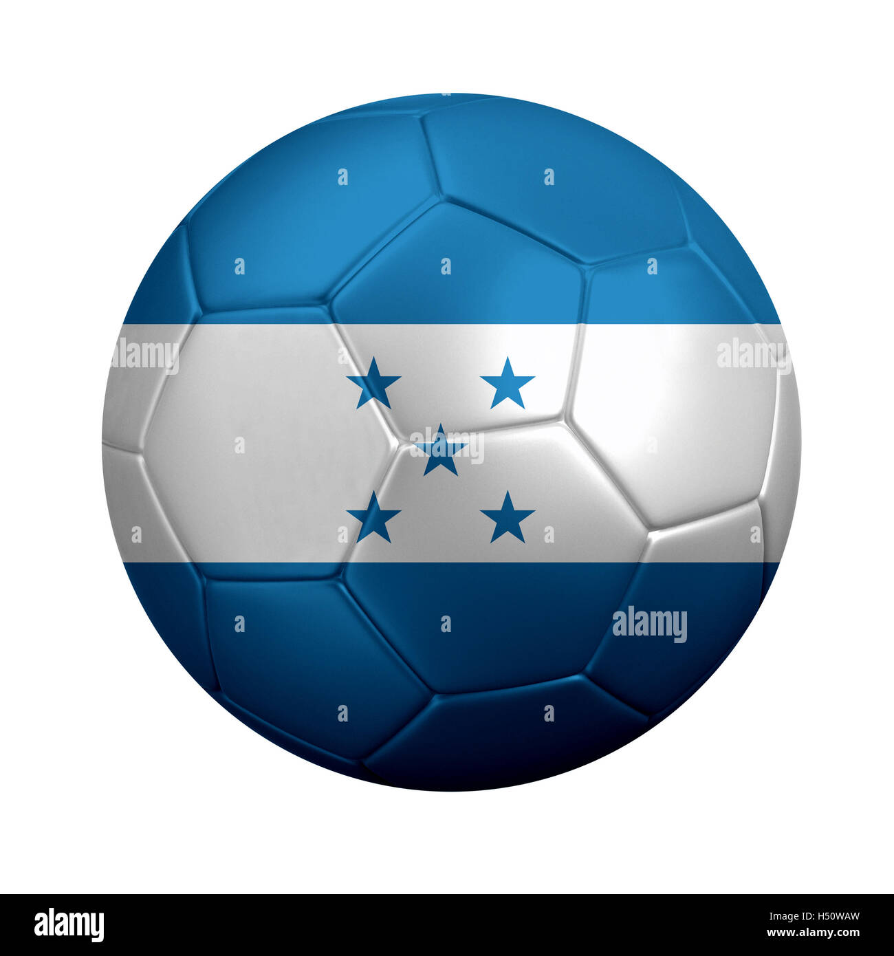 3D rendering of soccer ball wrapped in Honduras' national flag. Isolated on white background. Stock Photo