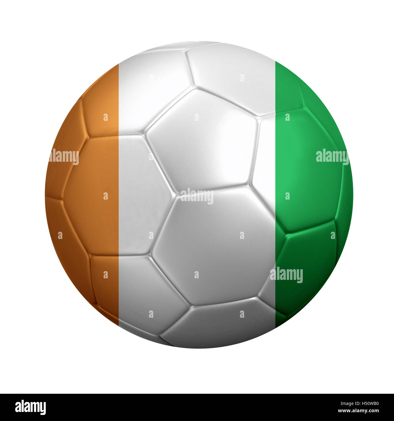 3D rendering of soccer ball wrapped in Ivory Coast's national flag. Isolated on white. - Stock Image