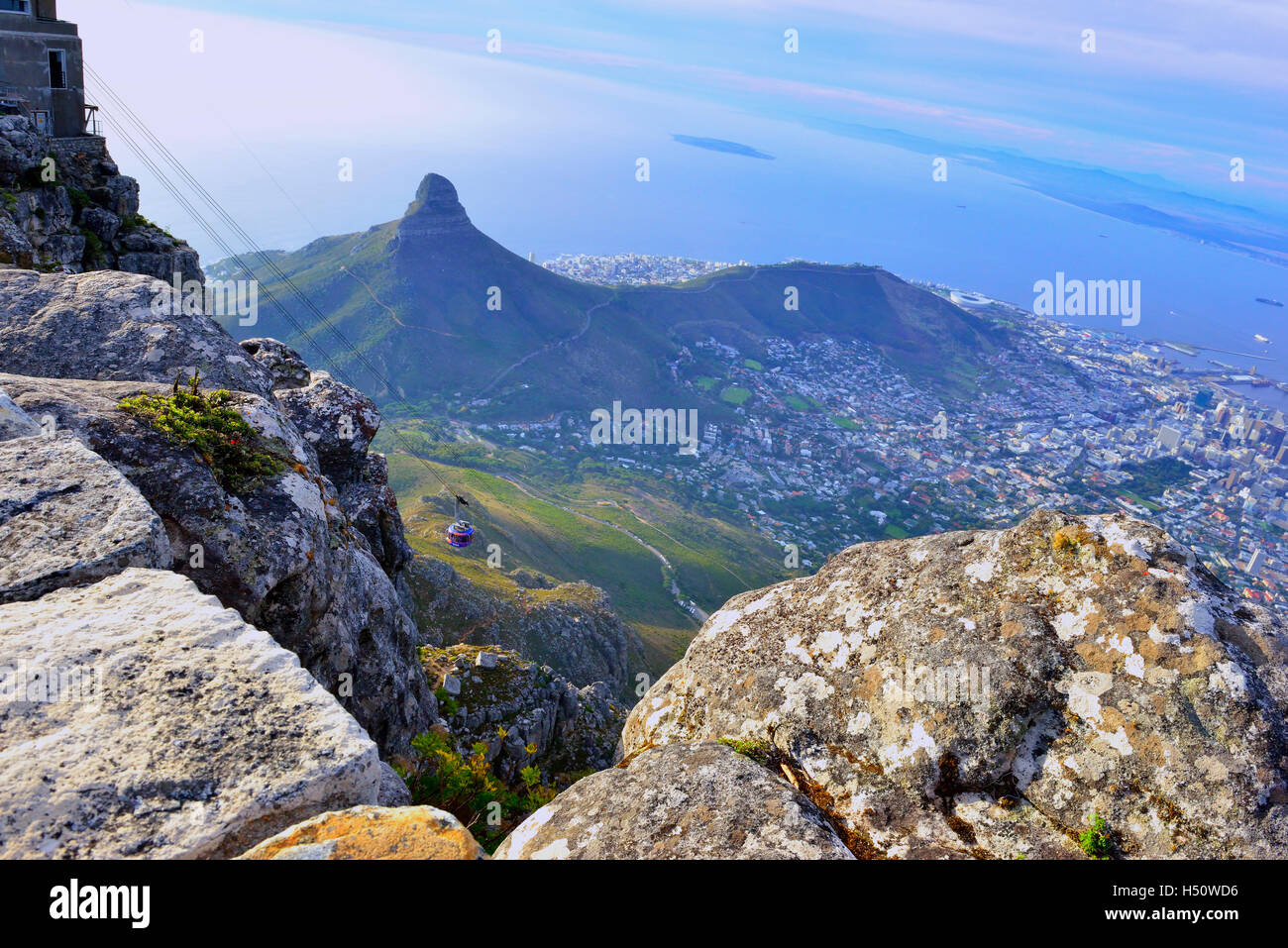 Top of Table Mountain Nr Cable Car , Cape Town South Africa - Stock Image