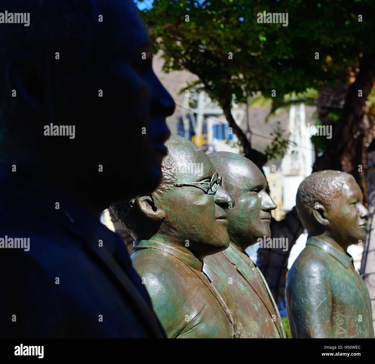 left to right four sculptures of the Nobel Peace prize laureates Albert Luthuli, Desmond Tutu, FW de Klerk and Nelson - Stock Image